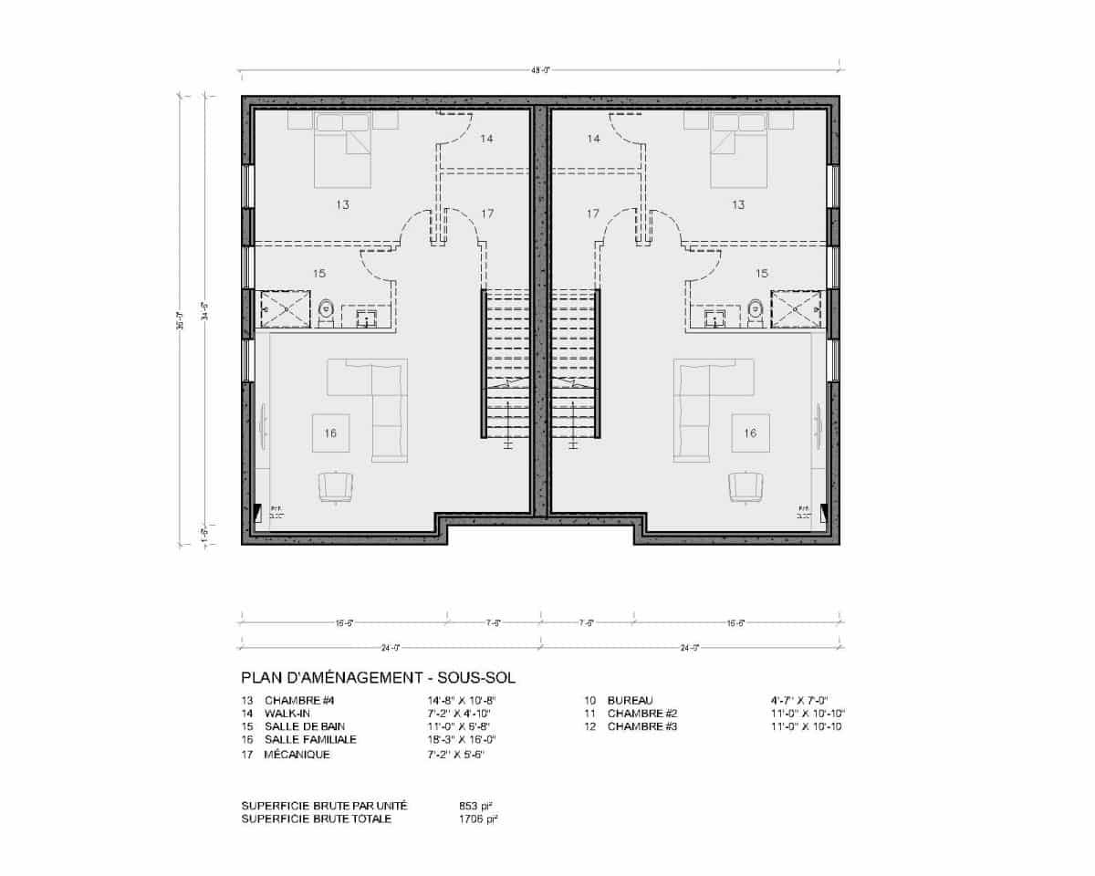 plan de maison jumelé québec sous sol