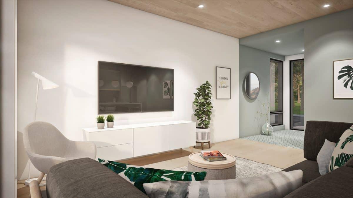 salon blanc plantes plan maison Solna