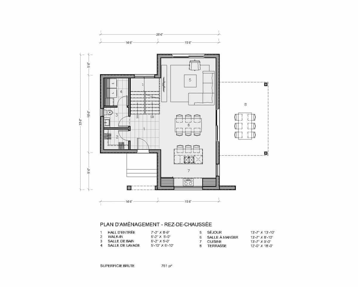 plan de maison moderne rez de chaussée montara