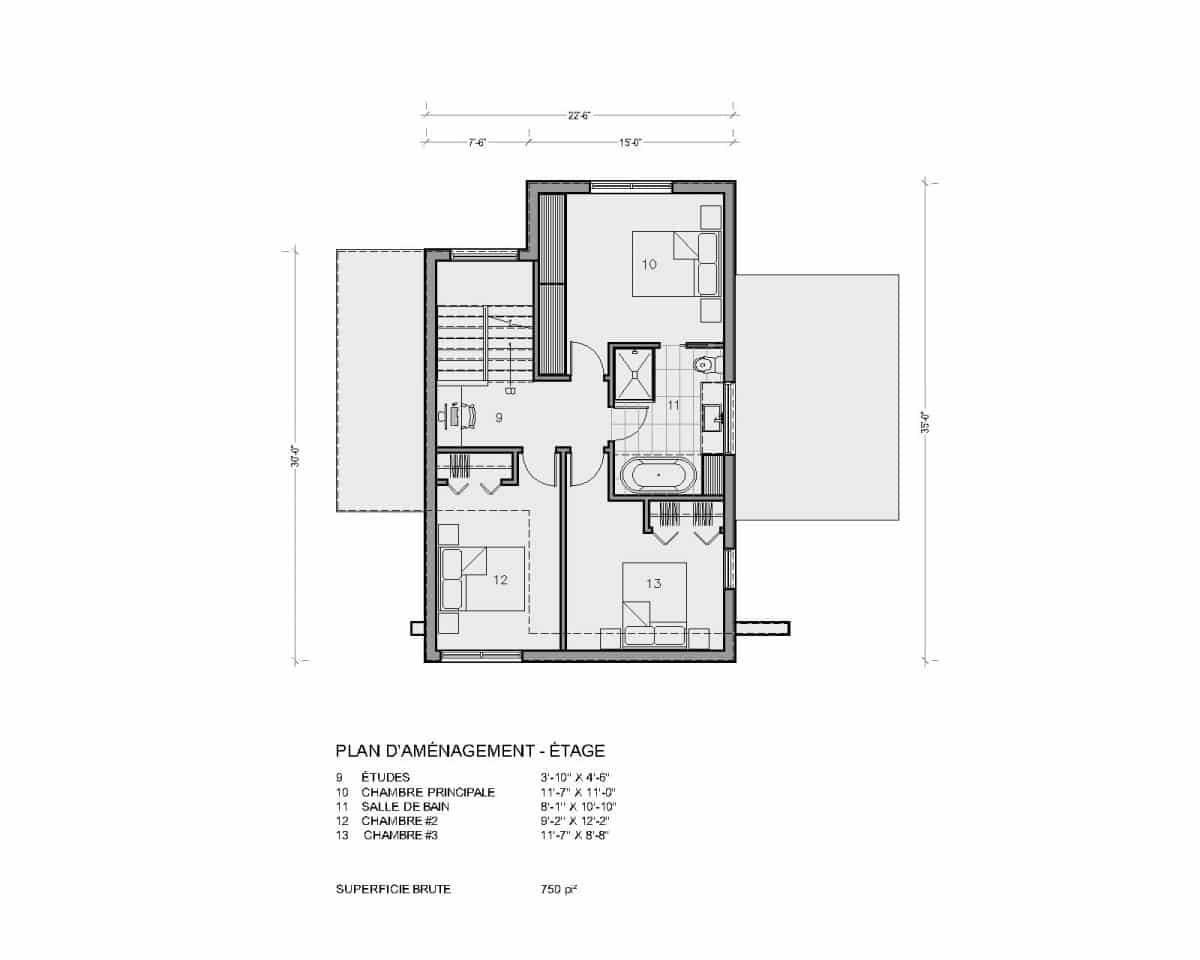 plan de maison moderne étage montara