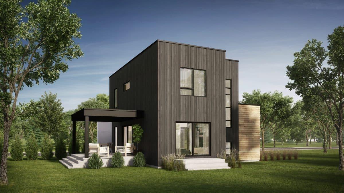 Cour arrière maison moderne plan de maison montara