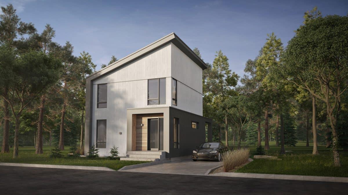 Facade modèle nodique sans garage Plan de maison solna