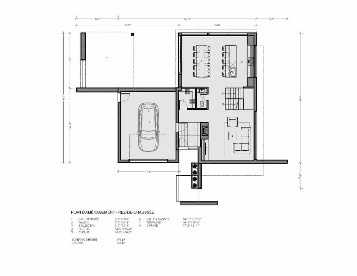plan de maison rez de chaussée Cortez
