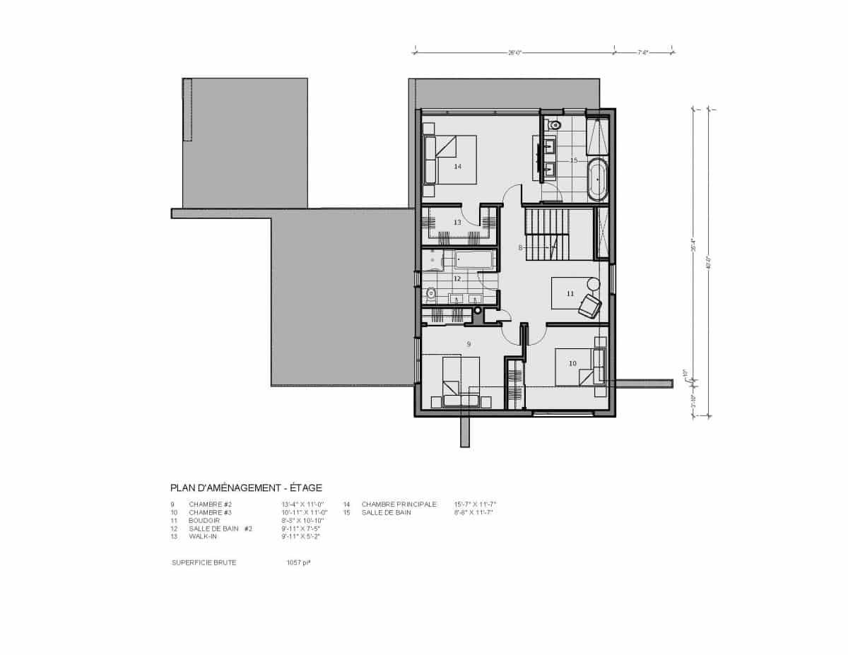 plan de maison étage résidence moderne 3 chambres Cortez