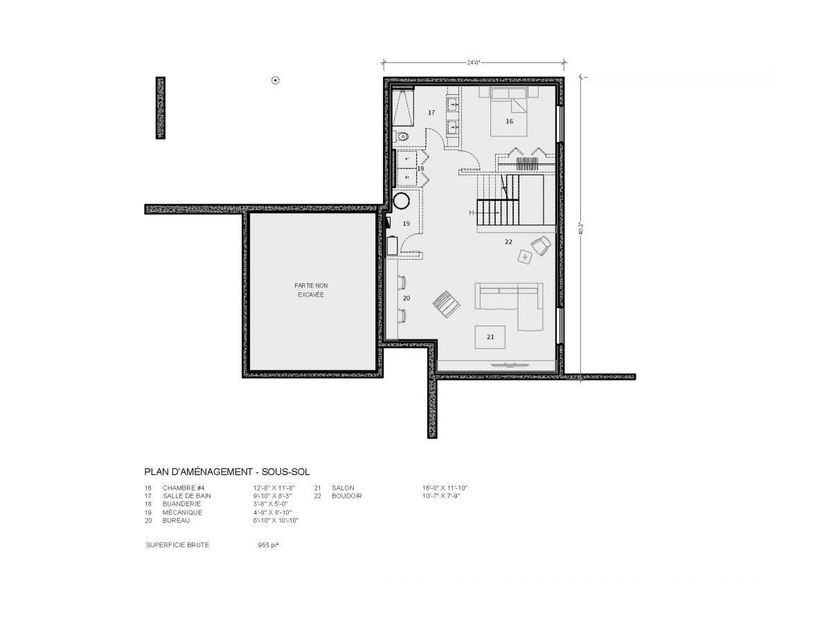 plan de maison sous sol Cortez