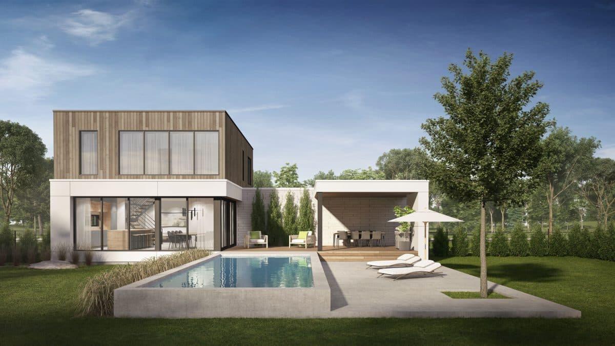 plan de maison modèle cortez terrasse piscine
