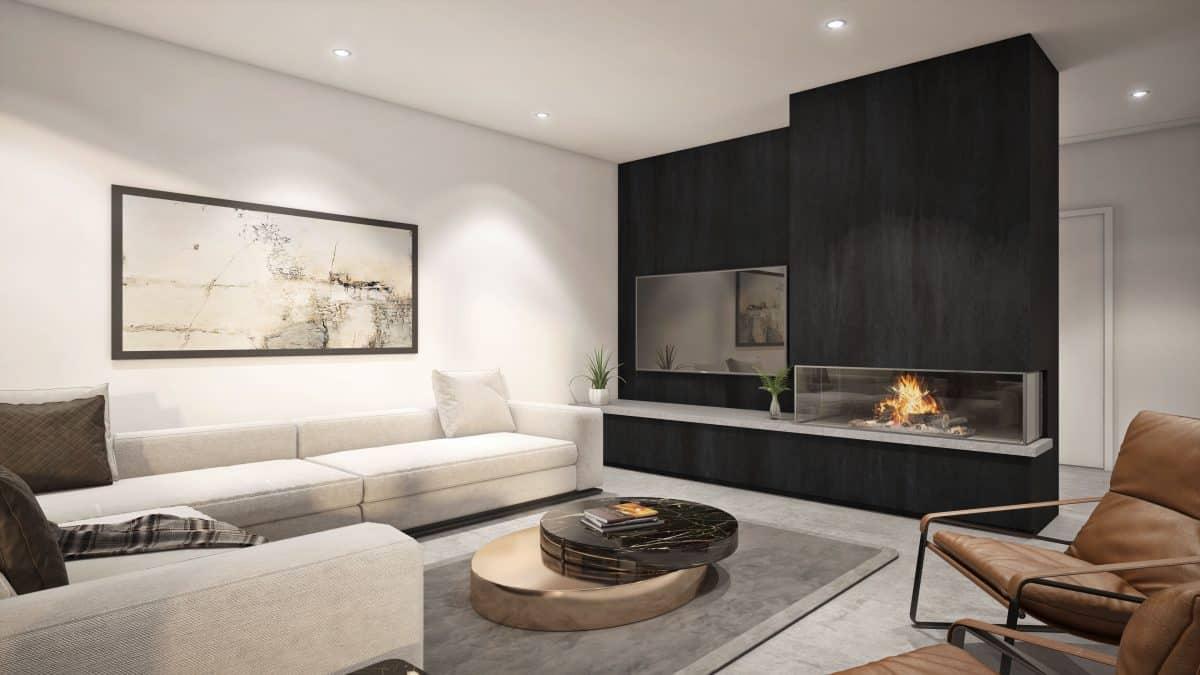 Séjour design intérieur noir blanc plan Cortez