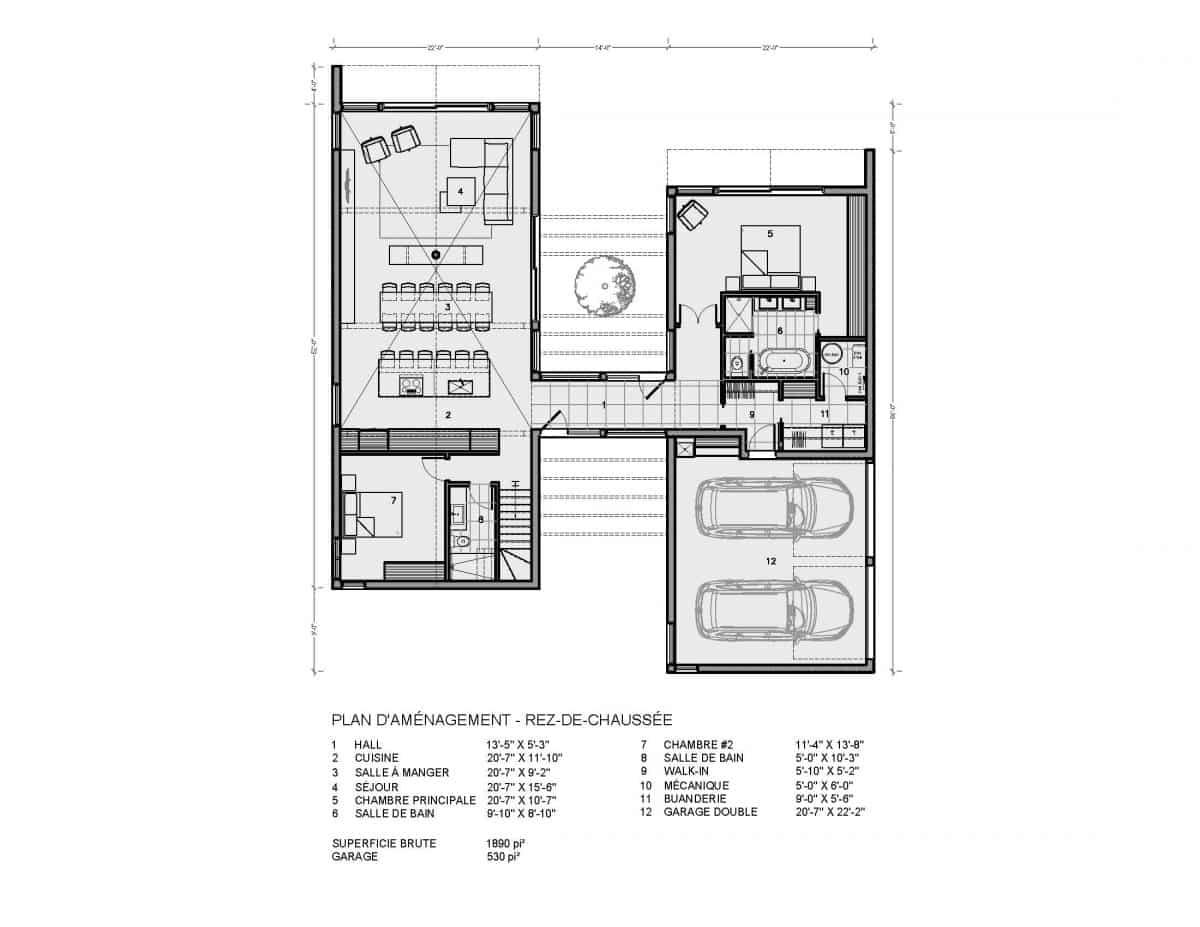 plan de maison rez de chaussée Ydessa