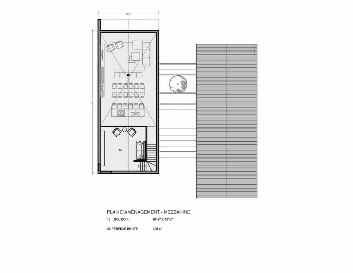 plan de maison mezzanine Ydessa