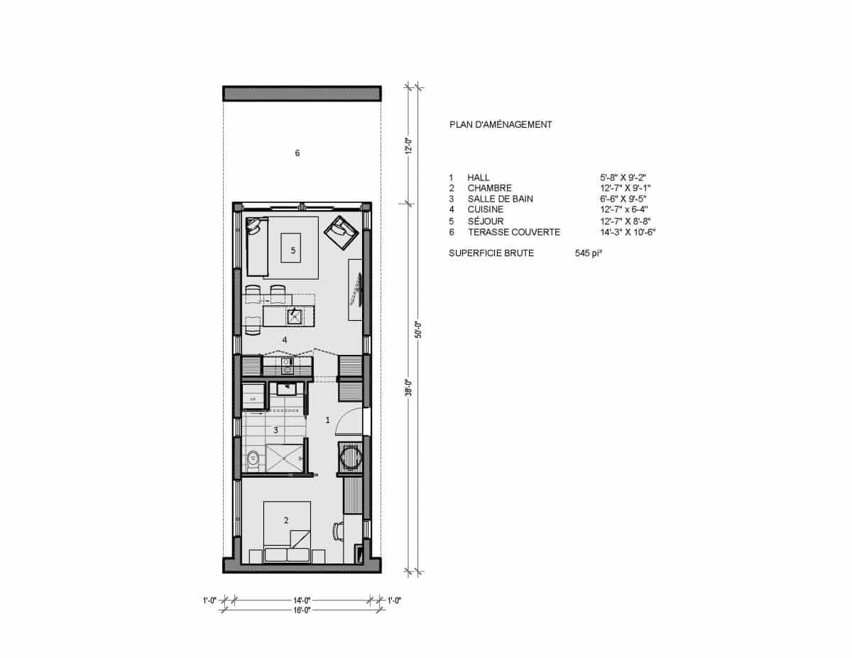 Plan de mini maison container Ness