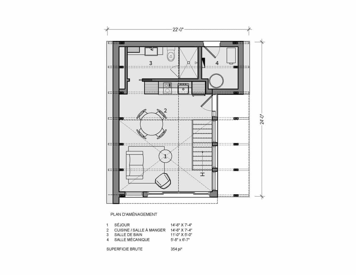 plan de mini maiosn A frame Huron