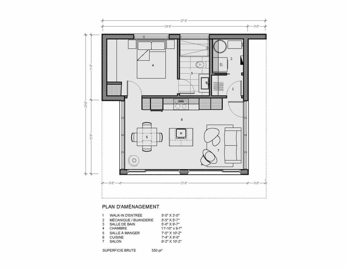 plan mini maison Toba