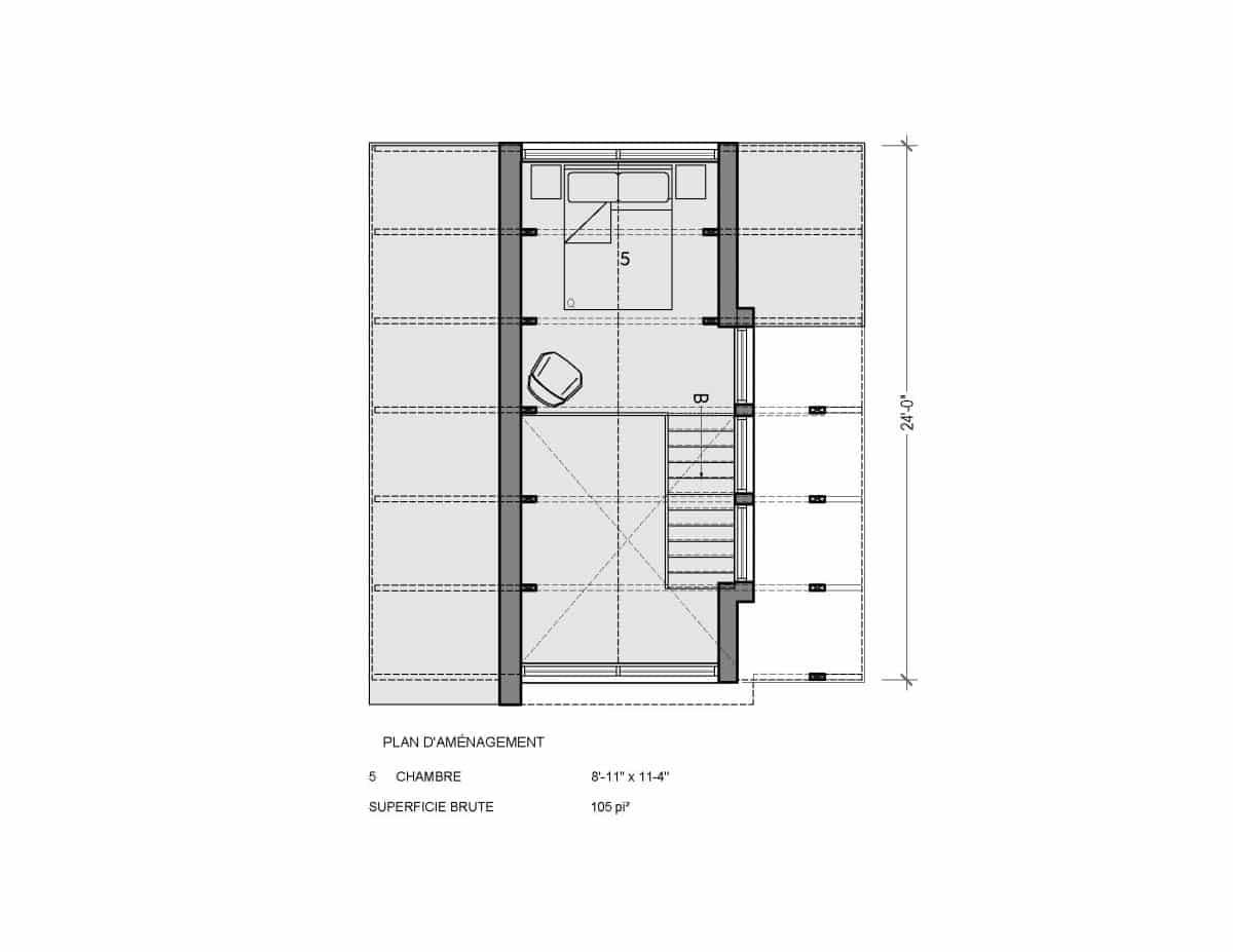 plan de mini maison mezzanine A frame