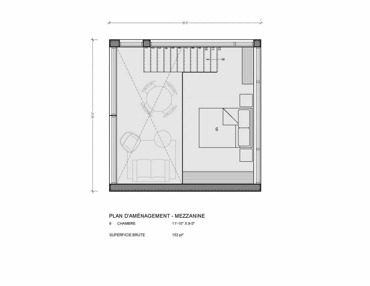 plan de maison mezzanine Adenia