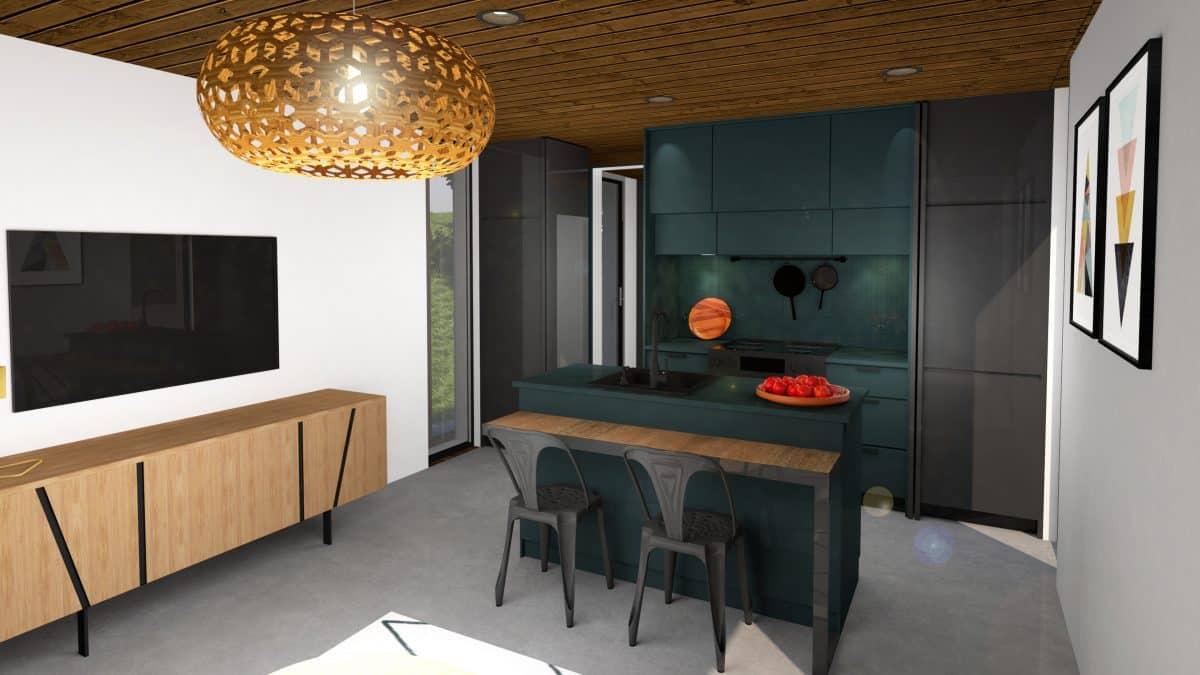 cuisine bleu vert mini maison plan Ness