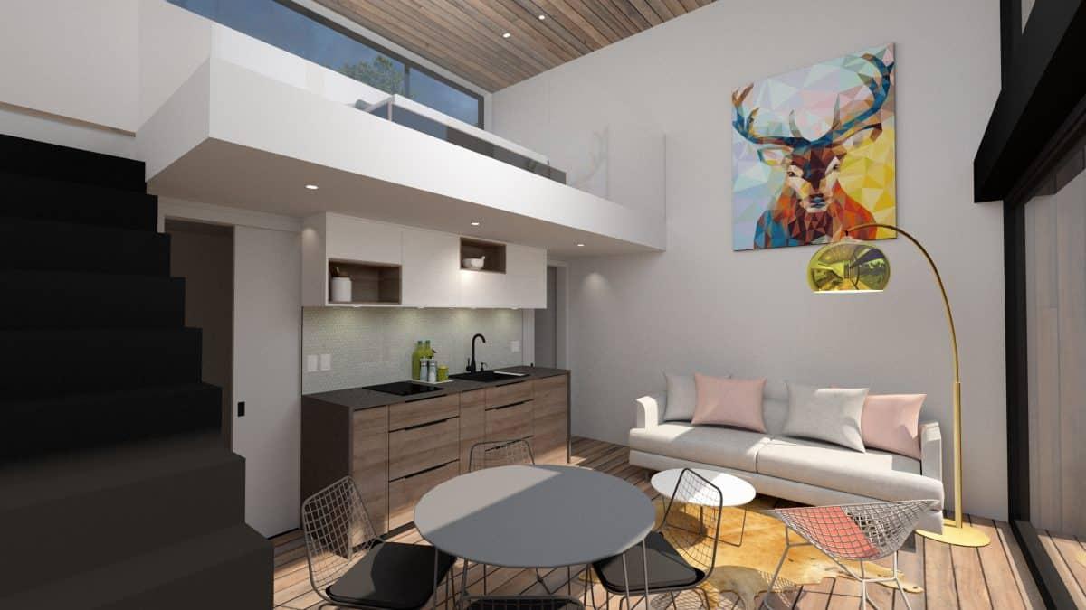 Mini maison mezzanine plan de maison Adenia