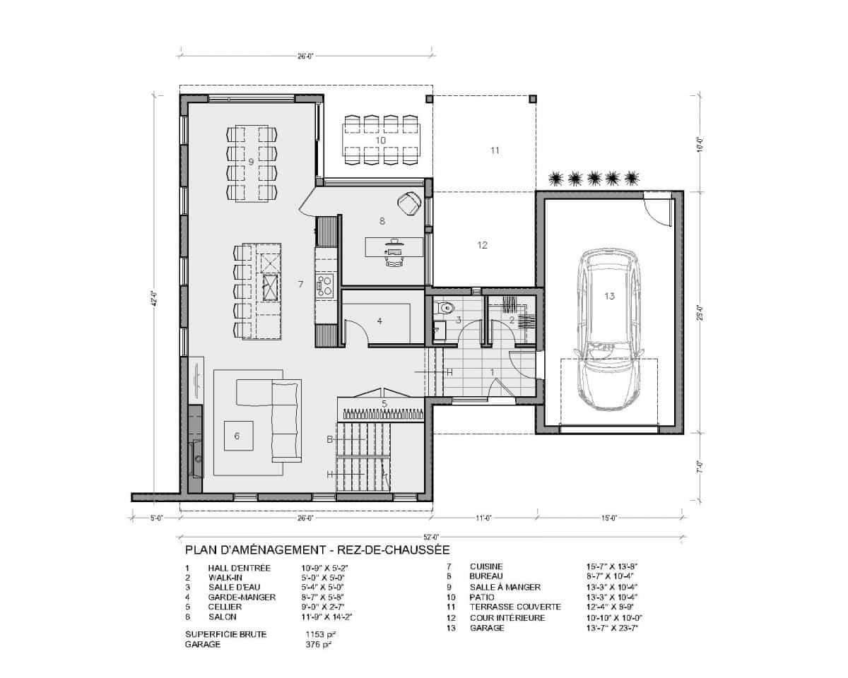 plan de maison rez de chaussée scandinave Aseda