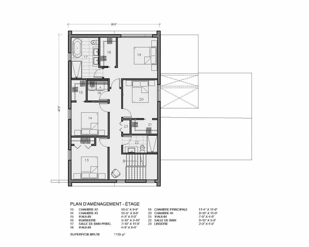 plan de maison étage 4 chambres Aseda