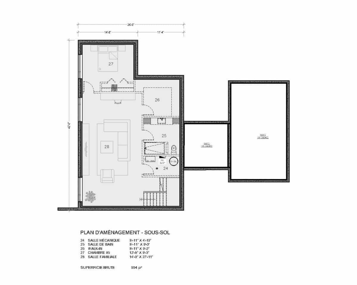 plan de maison sous sol Aseda