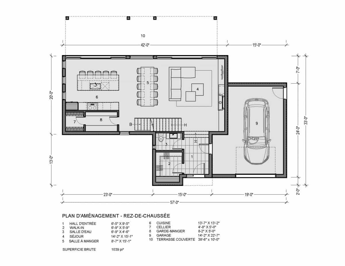 plan de maison rez de chaussée Sena