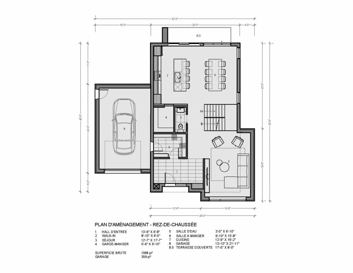 Plan de maison rez de chaussée Loken