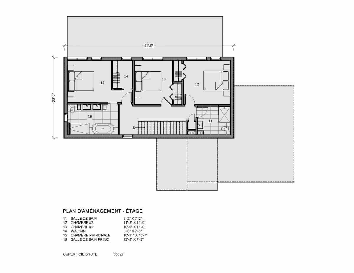 plan de maison étage 3 chambres Sena