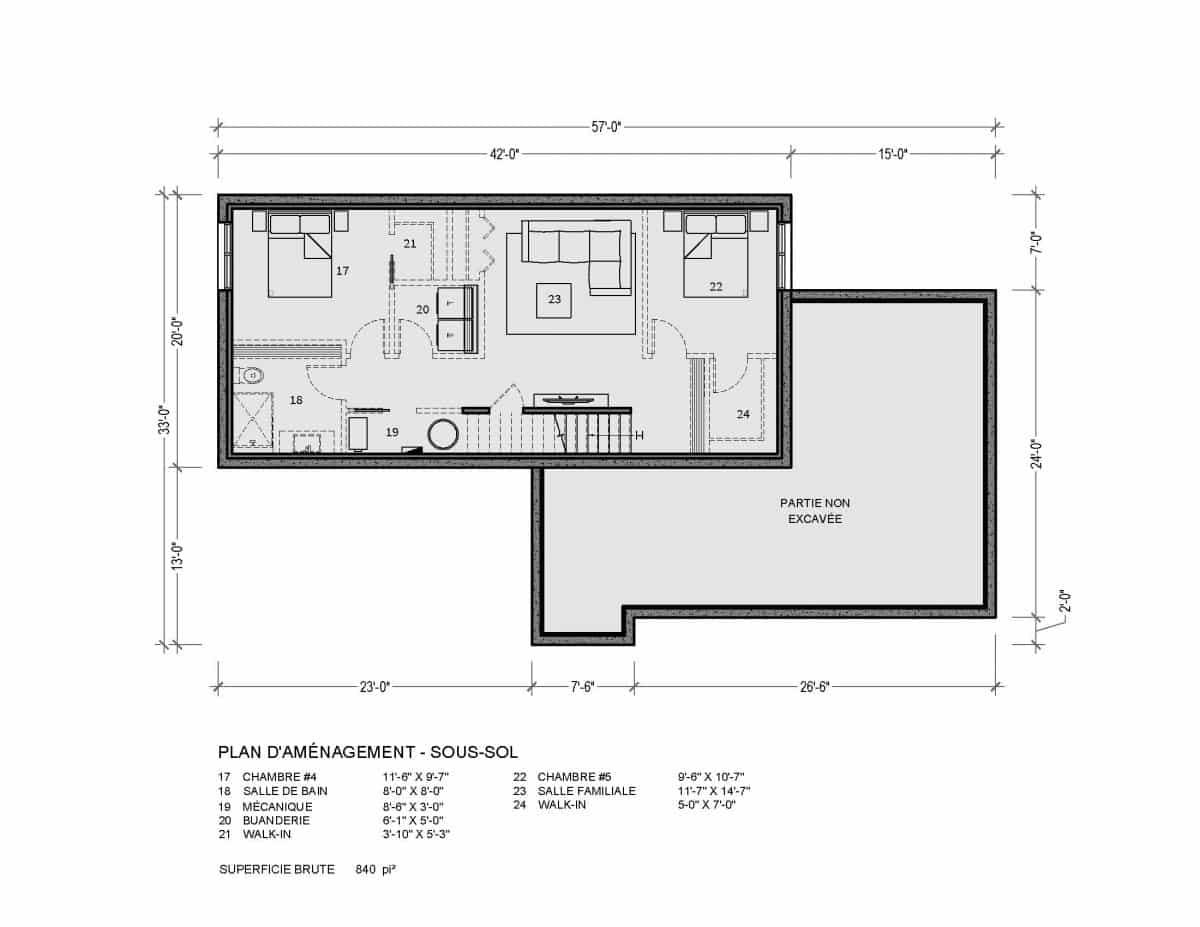 plan de maison sous sol Sena 2 chambres