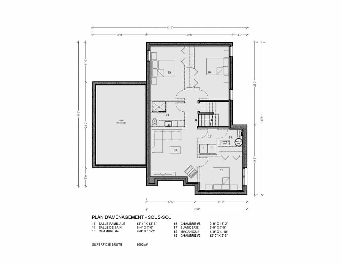 Plan de maison sous sol Loken