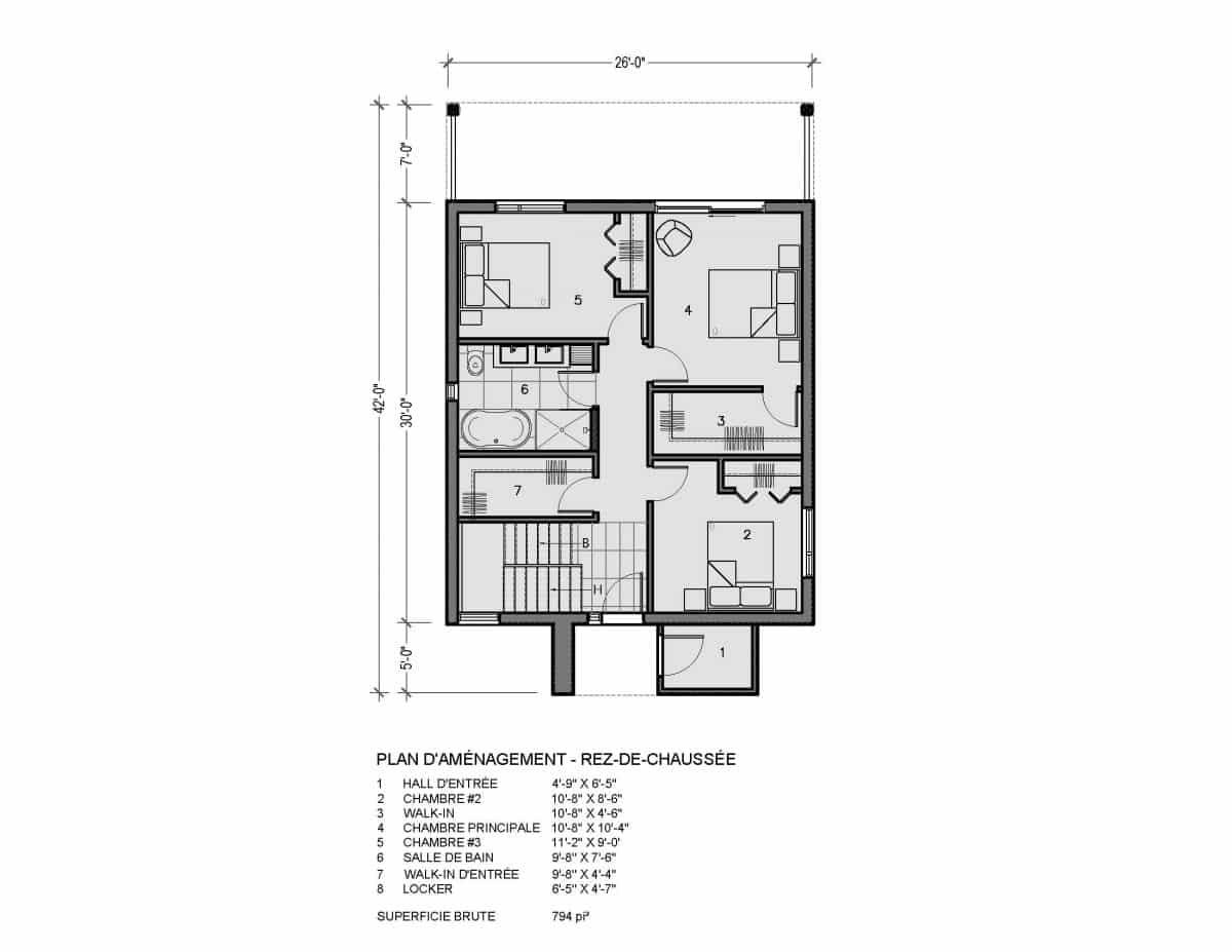 Rez de chaussée plan de maison Lahti