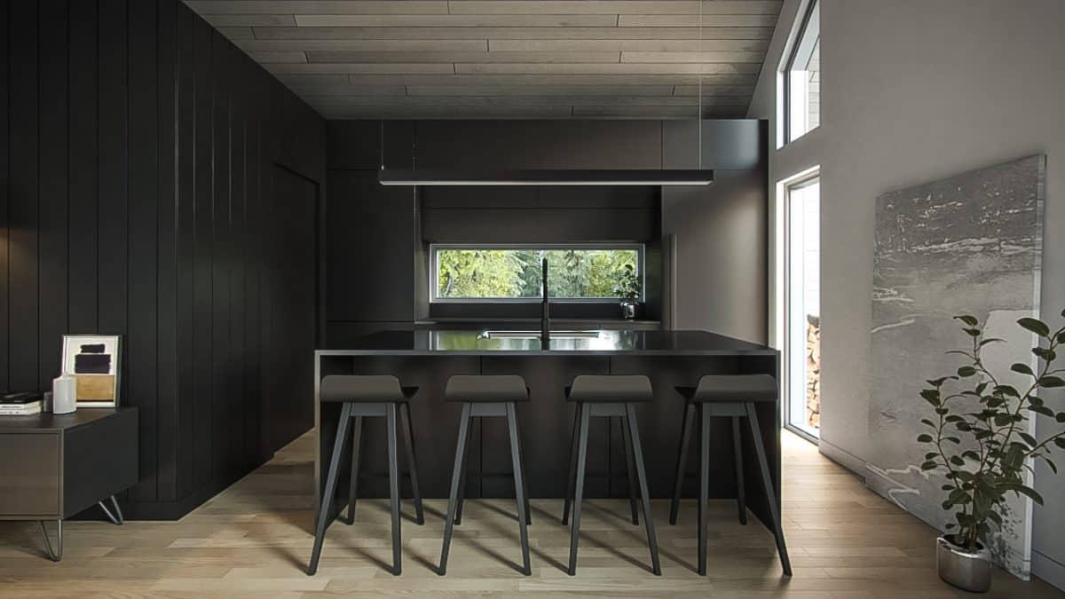 Cuisine sombre plan de maison Lahti