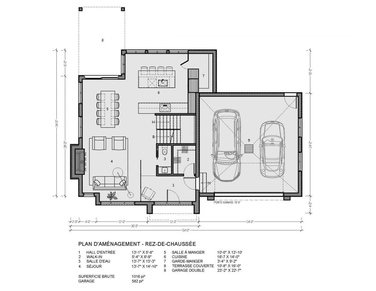 plan de maison rez de chaussée reston