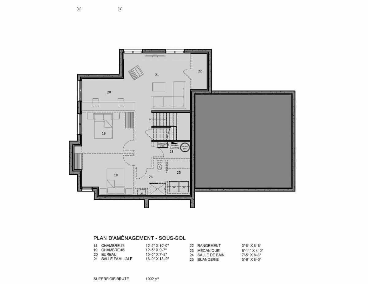 plan de maison sous sol reston