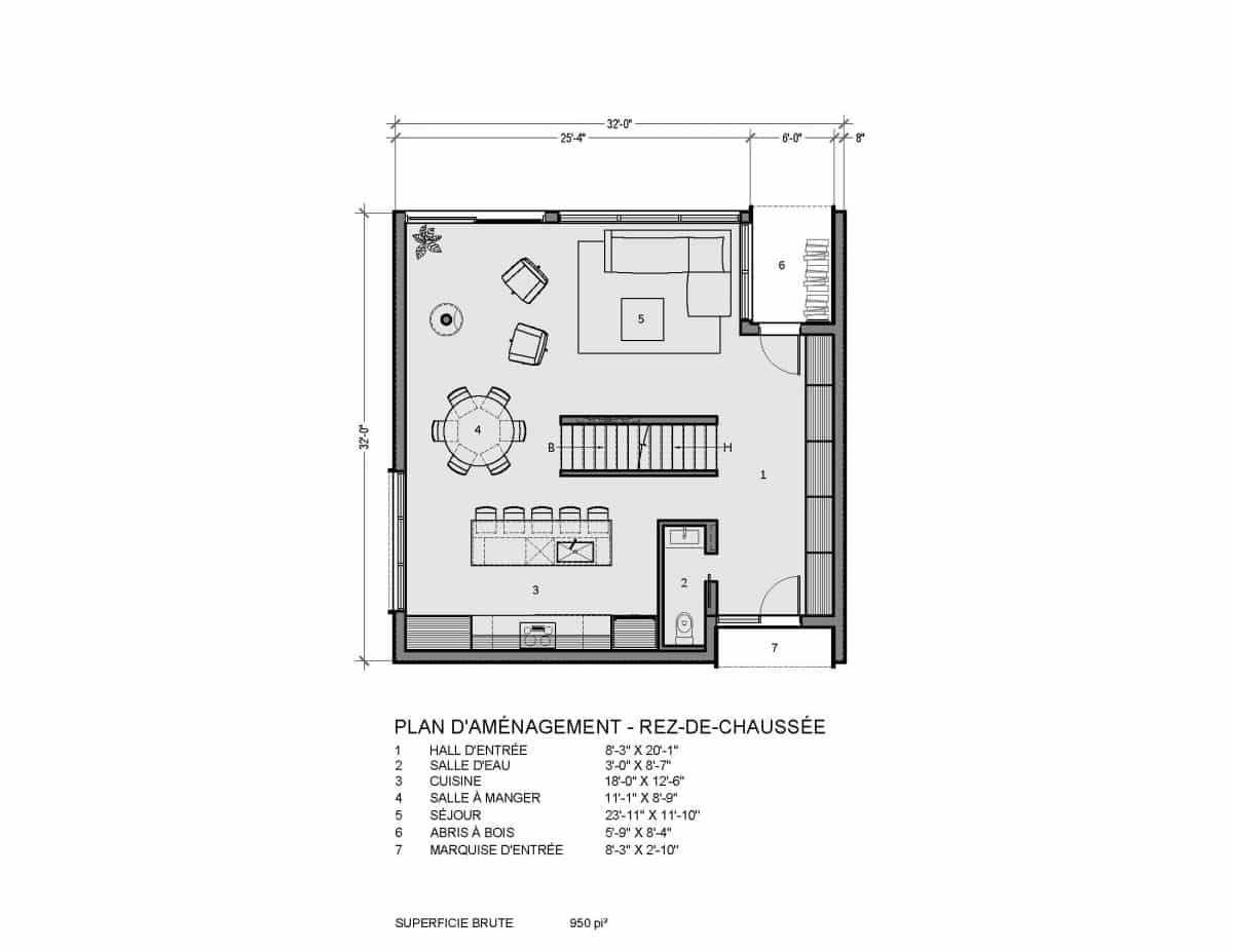 plan de maison rez de chaussée Bolton