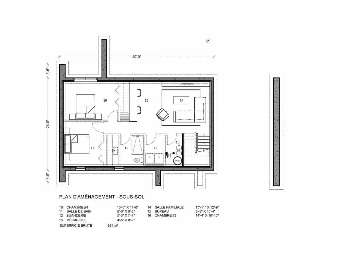 plan de maison sous sol Niva