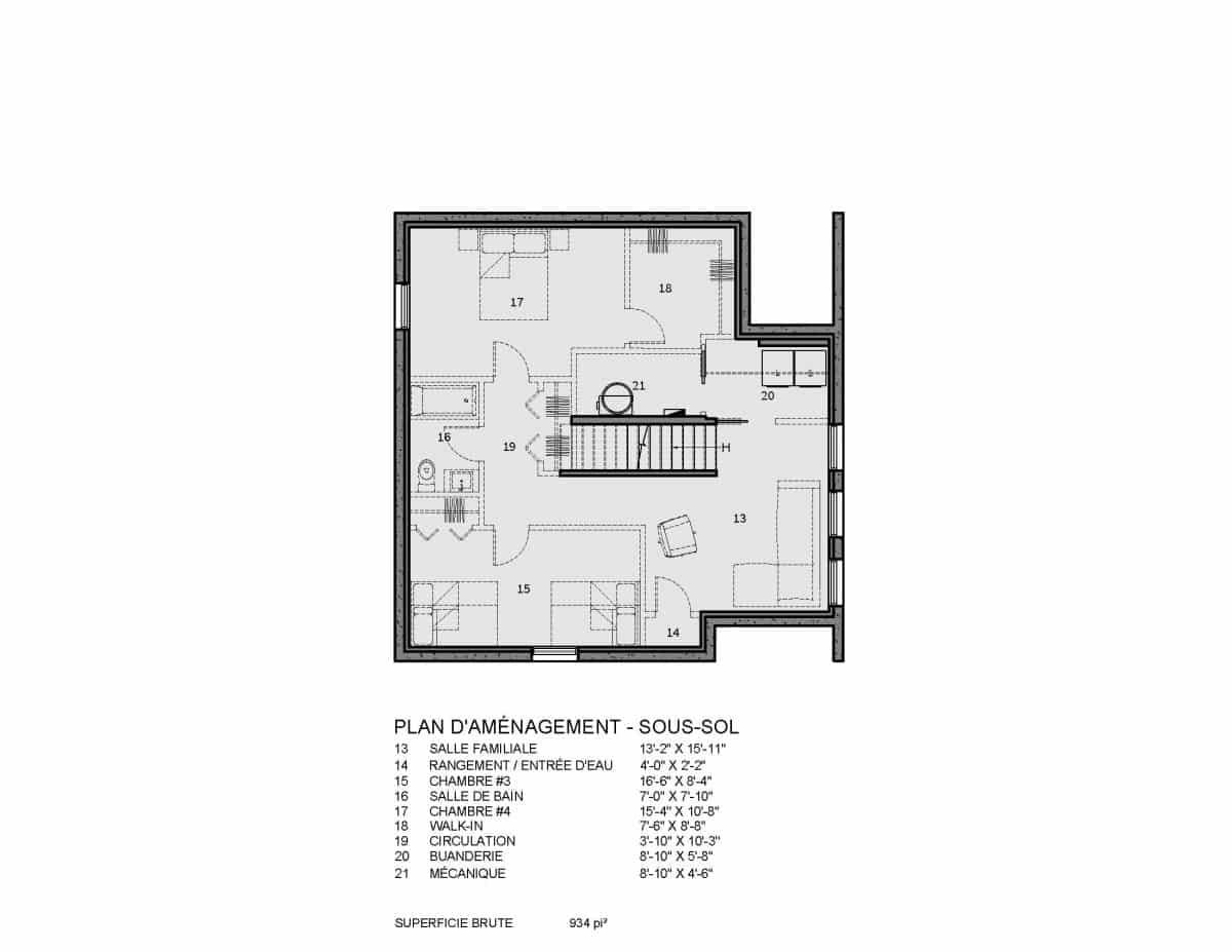 plan de maison sous sol Bolton