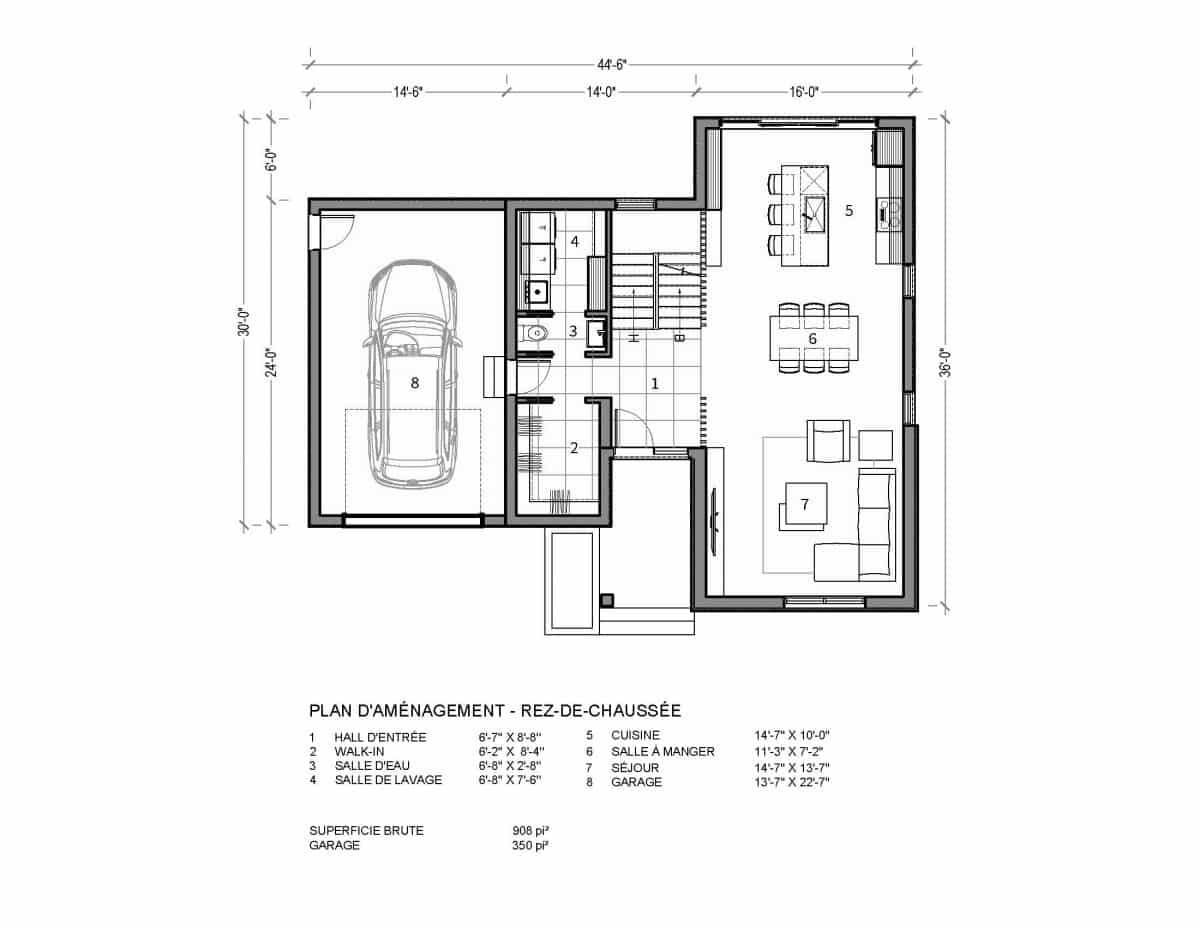 plan de maison rez de chaussée Valin