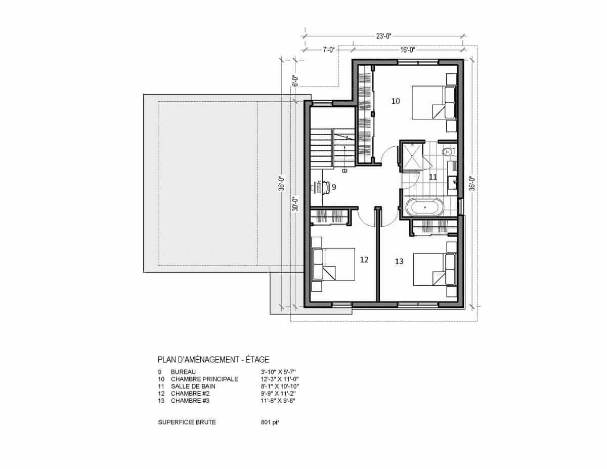 plan de maison étage Valin