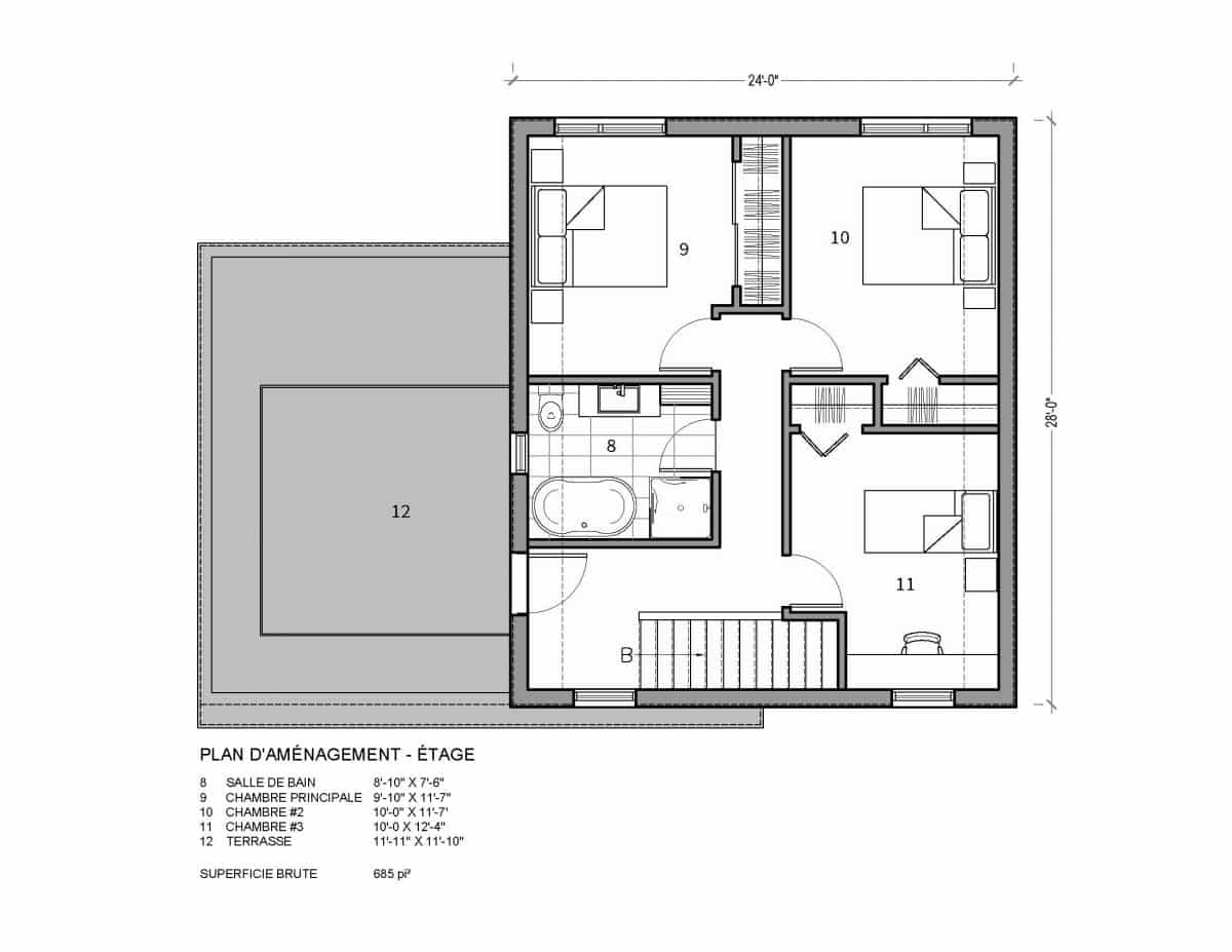 plan de maison étage Nutak