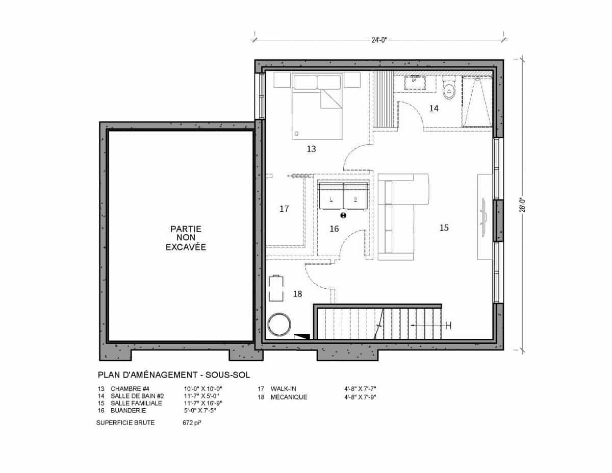 plan de maison sous sol Nutak