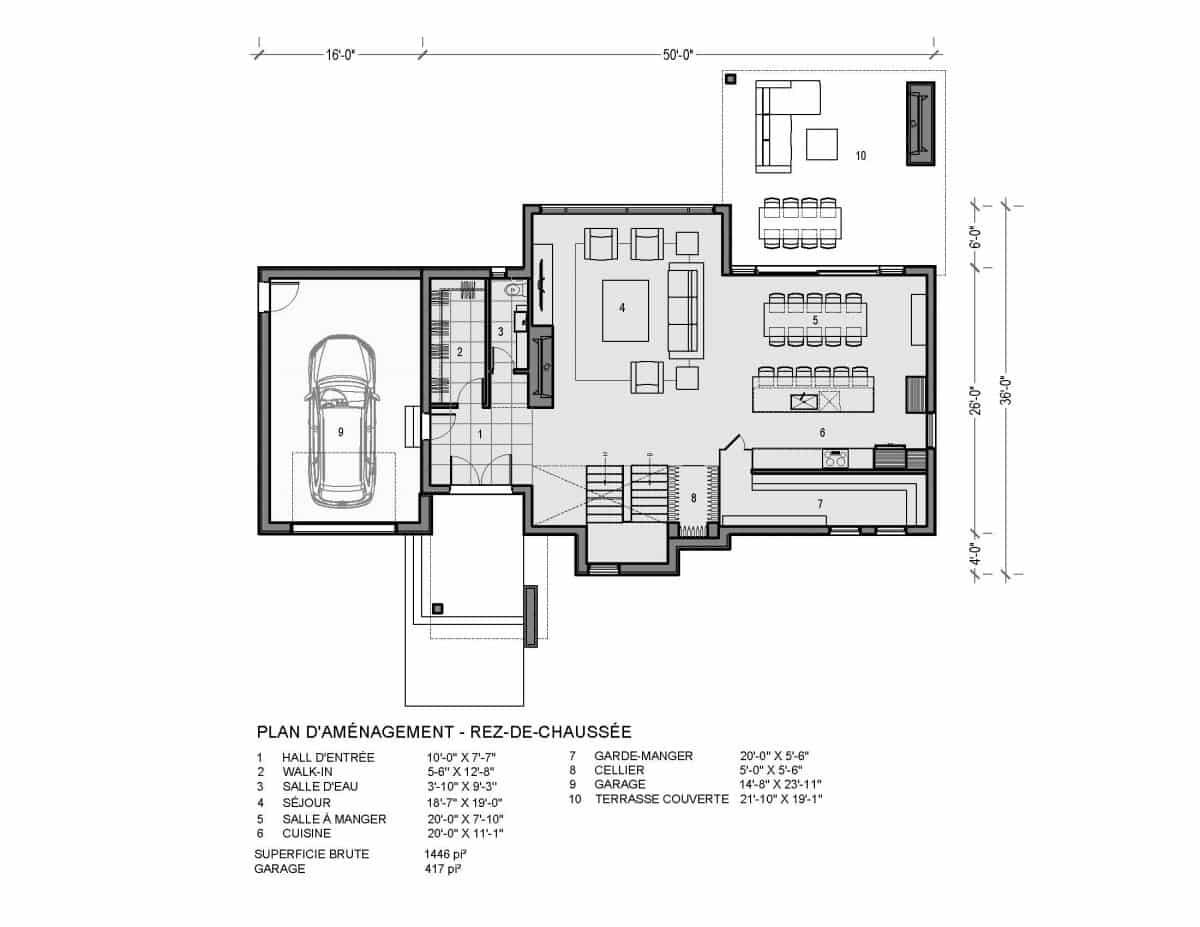 Plan de maison rez de chaussée Sonoma