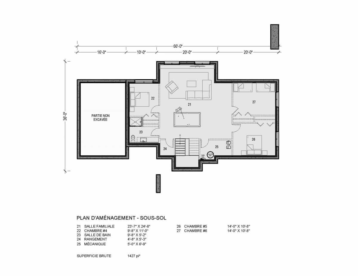 Plan de maison sous sol Sonoma