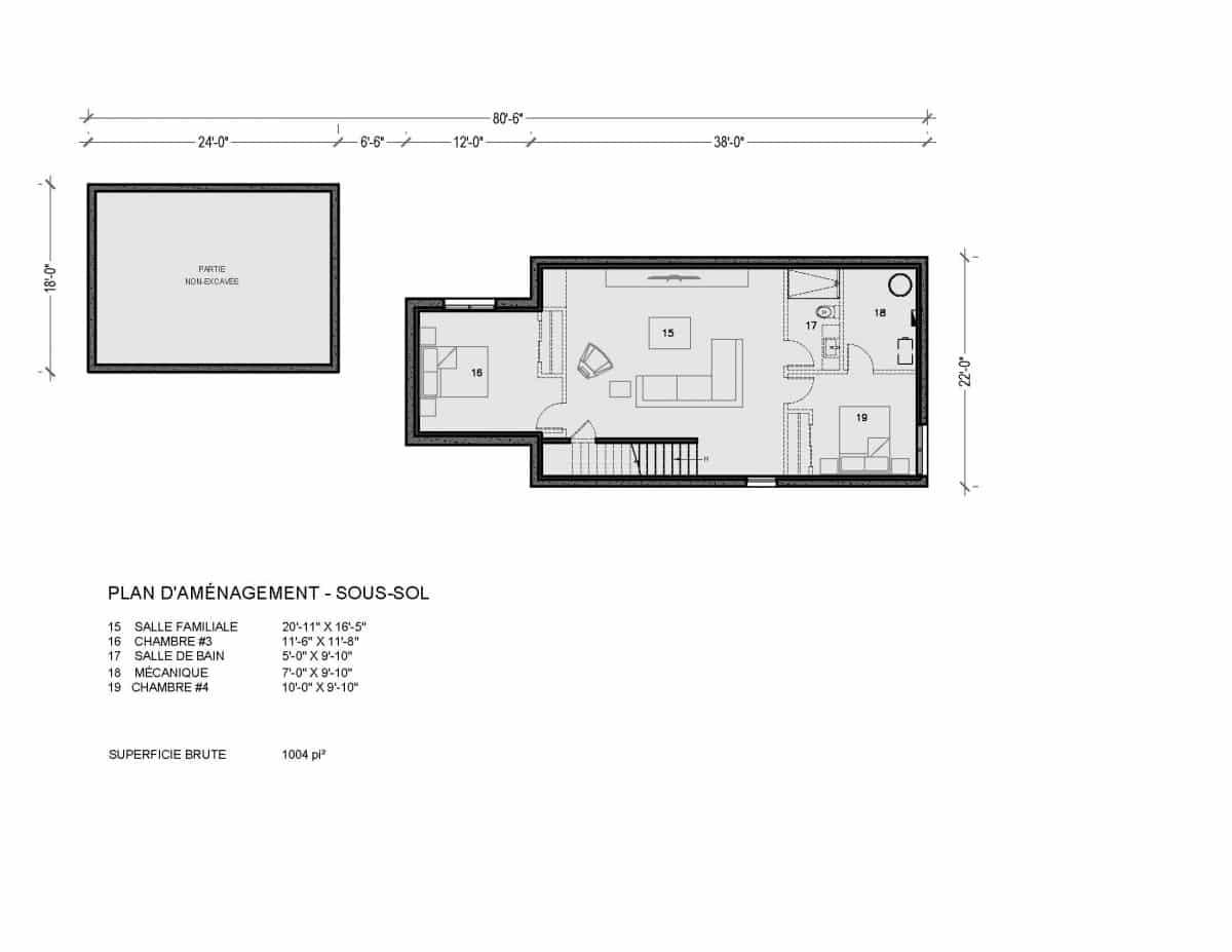 Plan de maison sous sol Capetown
