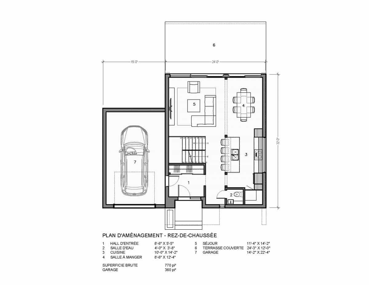 plan de maison rez de chaussée Nora