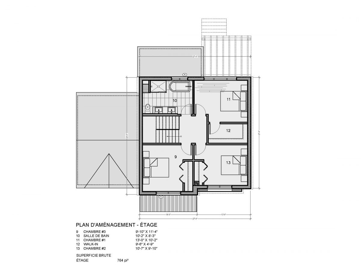plan maison étage Crofton