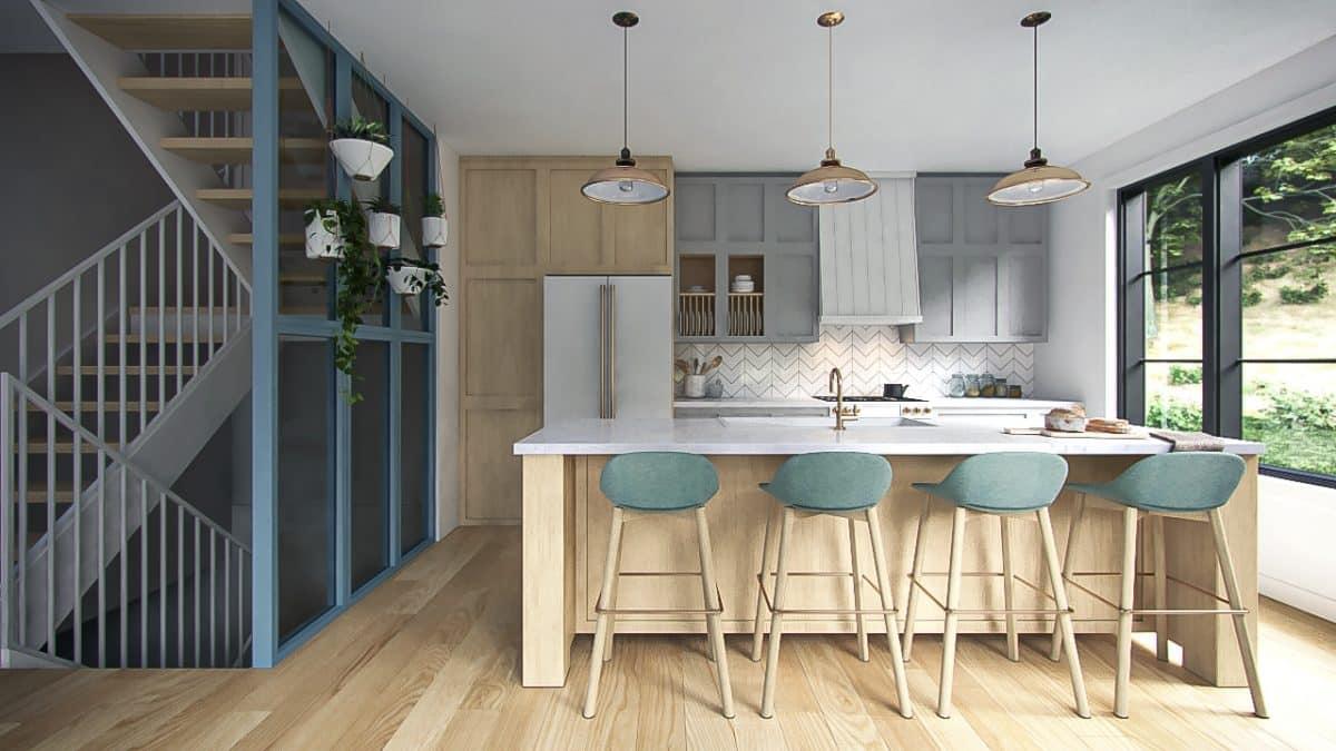 Design cuisine bleu et bois plan Crofton