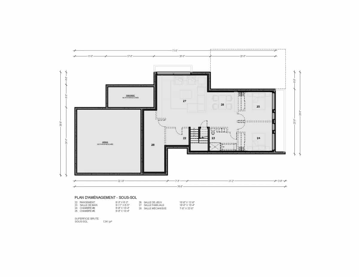 plan de maison sous sol Salton