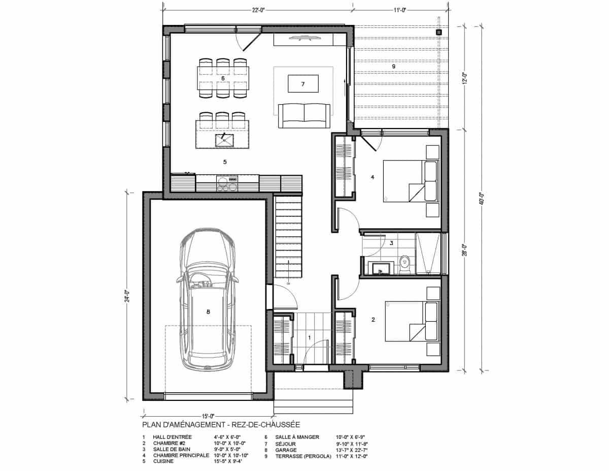plan de maison rez de chaussée hus