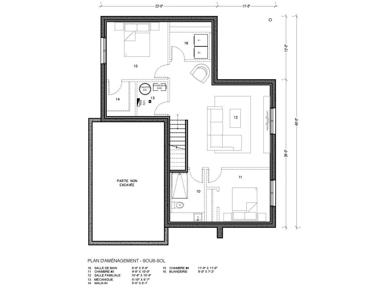plan de maison sous sol Hus