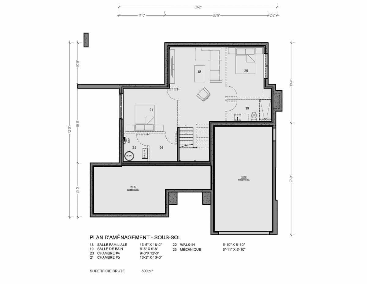 plan de maison sous sol
